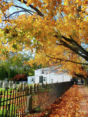 Graveyard In Autumn Art Print by Susan Savad