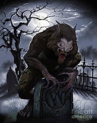Digital Art - Graveyard Werewolf by Stanley Morrison