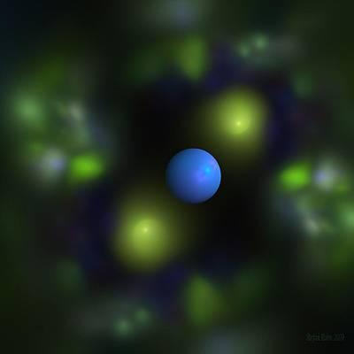 Green Abstract Digital Art - Gravitation Blue by Steve K