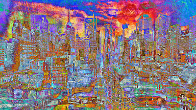 Digital Art - Gravity City Rain by Mary Clanahan