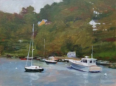 Painting - Gray Afternoon At Rockport Harbor by Peter Salwen