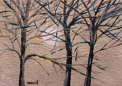 Gray And Dark Trees Art Print by John Williams