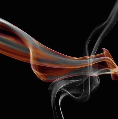 Gray And Orange Smoke Abstract Art Print
