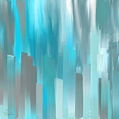 Gray And Teal Abstract Art Print by Lourry Legarde