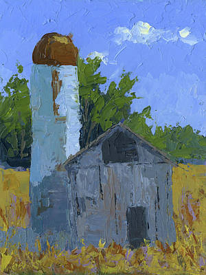 Painting - Gray Barn And Silo by David King
