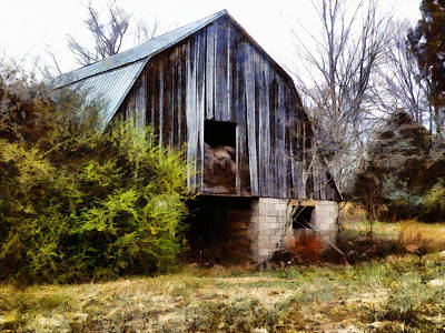 Digital Art - Gray Barn by JGracey Stinson