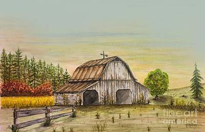 Old Barns Painting - Gray Barn by Ted Reeves