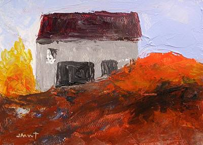 Red Roof Drawing - Gray Building by John Williams
