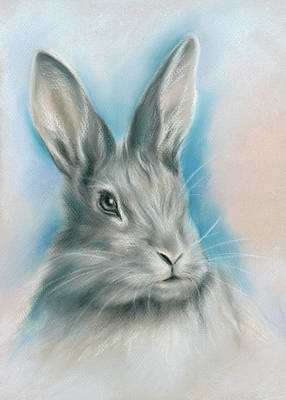 Pastel - Gray Bunny Rabbit On Blue by MM Anderson
