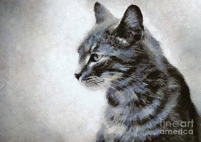 Painting - Gray Cat by Dimitar Hristov
