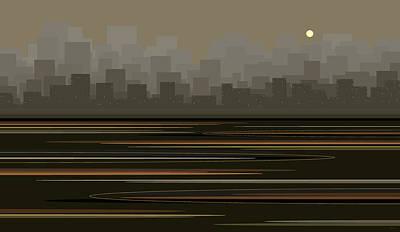 Digital Art - Gray City Skyline by Val Arie