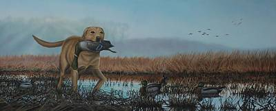 Waterfowl Painting - Gray Day Mallards by Anthony J Padgett