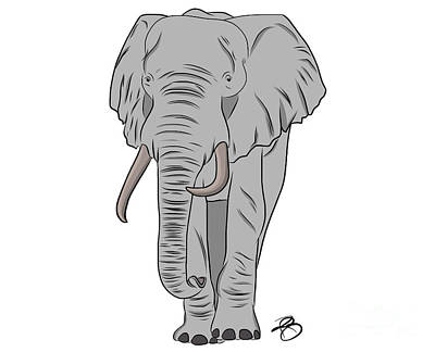 Digital Art - Gray Elephant by Rachel Barrett