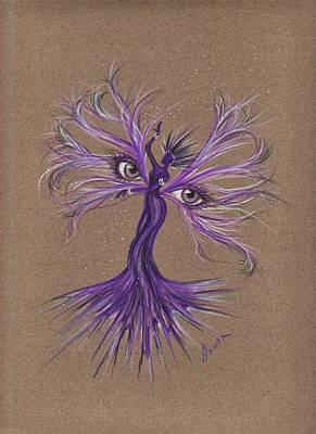Art Print featuring the drawing Gray Eyes by Dawn Fairies