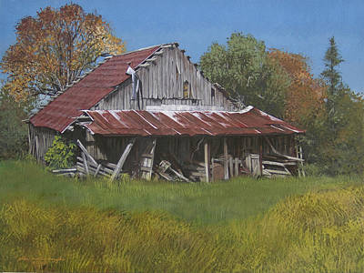 Egg Tempera Painting - Gray Farm Building by Peter Muzyka
