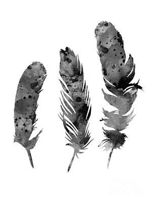 Gray Feathers Watercolor Art Print Painting Art Print