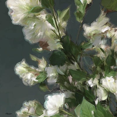 Gray Floral 09 Art Print