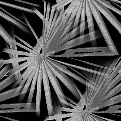 Digital Art - Gray Grey On Black Tropical Vibes Beach Palmtree Vector by Tracey Harrington-Simpson
