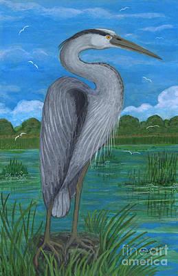 Polish American Painters Painting - Gray Heron by Anna Folkartanna Maciejewska-Dyba