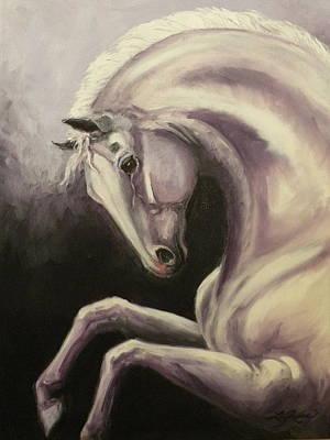 Gray Horse Fantasy Art Print by Liz Rose