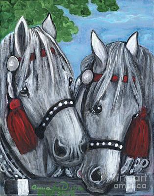 Gray Horses Art Print by Anna Folkartanna Maciejewska-Dyba
