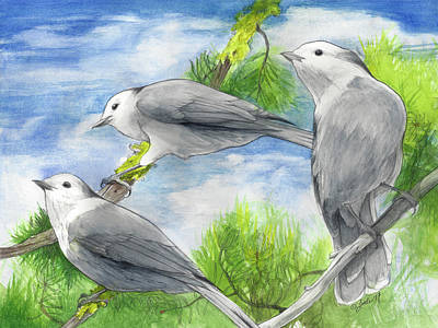 Mixed Media - Gray Jays Trio by Pam Little