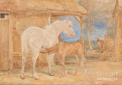 Gray Mare Painting - Gray Mare And A Chestnut Foal by Celestial Images
