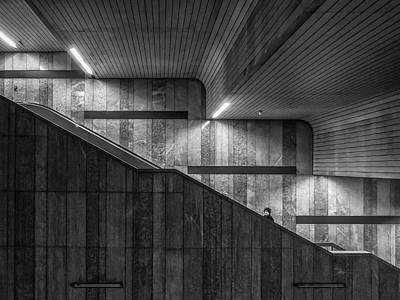 Staircase Photograph - Gray On Gray by Klaus Lenzen