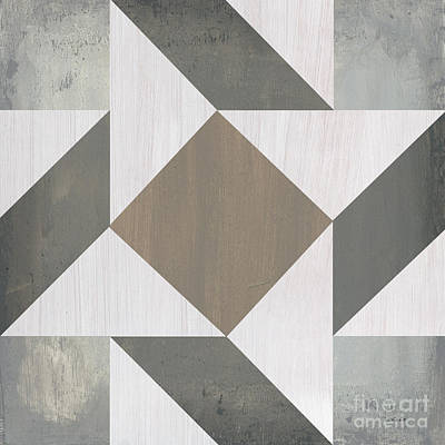 Block Quilts Painting - Gray Quilt by Debbie DeWitt