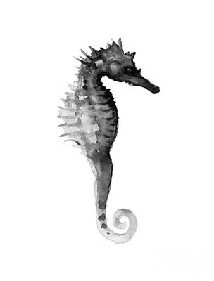 Giclee Mixed Media - Gray Seahorse Minimalist Painting by Joanna Szmerdt