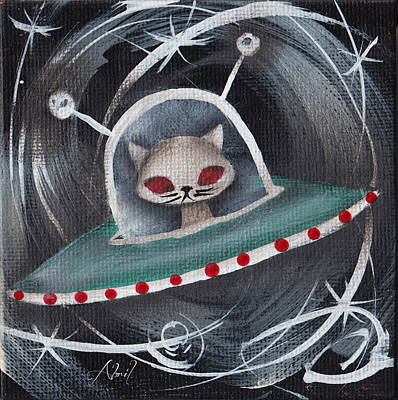 Pop Surrealism Painting - Gray Space Cat by Abril Andrade Griffith