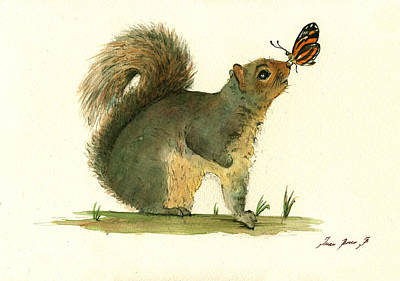 Squirrel Wall Art - Painting - Gray Squirrel Butterfly by Juan Bosco