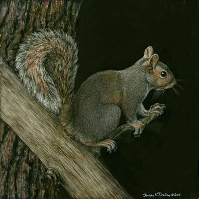 Painting - Gray Squirrel Defending His Position by Susan Donley