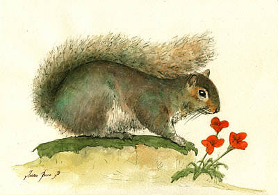 Squirrel Wall Art - Painting - Gray Squirrel Flowers by Juan Bosco