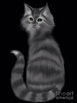Art Print featuring the painting Gray Striped Cat by Nick Gustafson
