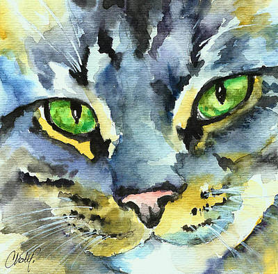 Gray Tabby Painting - Gray Tabby Striped Cat by Christy  Freeman