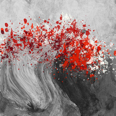 Digital Art - Gray Wave Turning Red by Jessica Wright