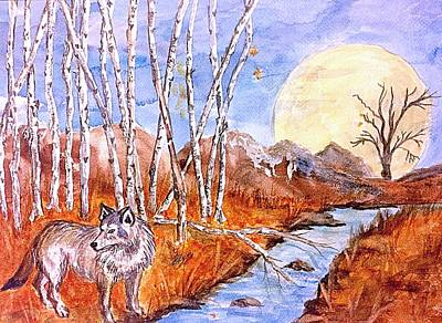 Painting - Gray Wolf And Super Moon by Ellen Levinson