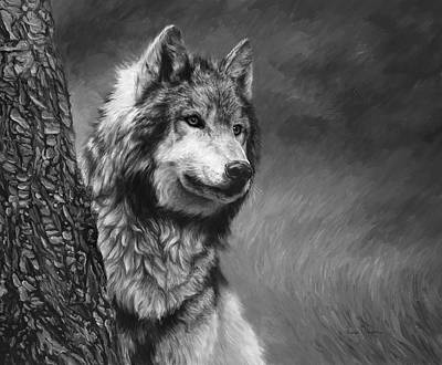 Wolf Wall Art - Painting - Gray Wolf - Black And White by Lucie Bilodeau