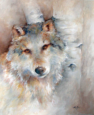 Wolf Painting - Gray Wolf Impression by Mary Zins