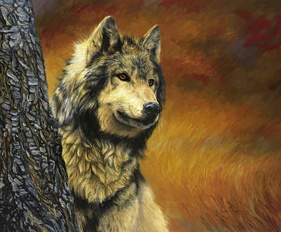 Gray Wolf Art Print by Lucie Bilodeau
