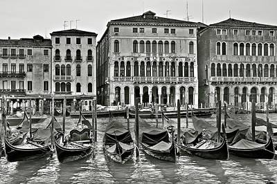 Vermeer Rights Managed Images - Grayscale Gondolas in Venice Royalty-Free Image by Frozen in Time Fine Art Photography