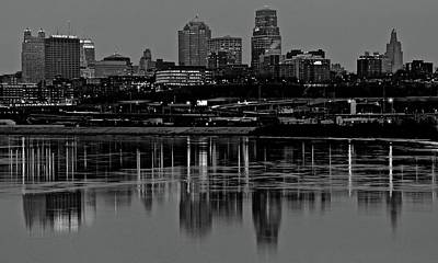 Photograph - Grayscale Night In Kc by Frozen in Time Fine Art Photography