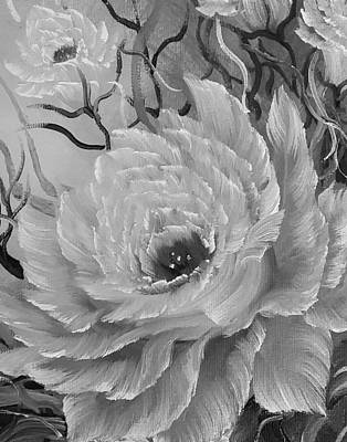 Michael Jackson - Grayscale rose of beautiful beauty  by Angela Whitehouse