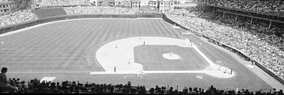 Turf Photograph - Grayscale Wrigley Field, Chicago, Cubs by Panoramic Images