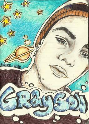 Fandom Drawing - Grayson Dolan Galaxy Background by Ani Hristova