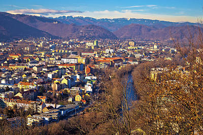 Photograph - Graz And Mur River Aerial Cityscape View by Brch Photography