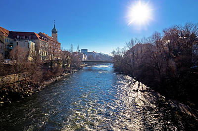 Photograph - Graz And Mur River Coast Sunset View by Brch Photography