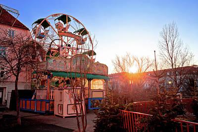 Photograph - Graz Christmas Fair Ferris Wheel Sunset View by Brch Photography
