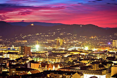 Photograph - Graz City Center Aerial View At Burning Sky Dusk by Brch Photography